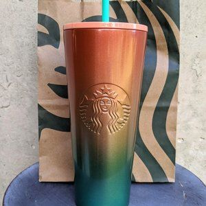 NWT Starbucks Watermelon Peach Green Ombre Tumbler